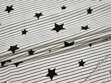 Плательная белая ткань полоска звезды полиэстер ББ270