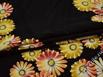 Плательная черная ткань цветы хлопок ББ260