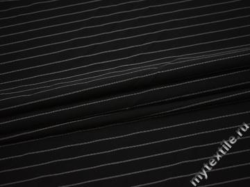 Плательная черная ткань в белую полоску полиэстер ББ1104