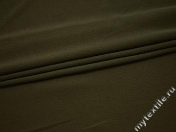 Плательная фактурная ткань цвета хаки полиэстер БА431