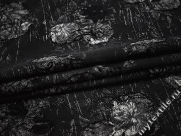 Костюмная черная ткань цветы полиэстер ВБ185