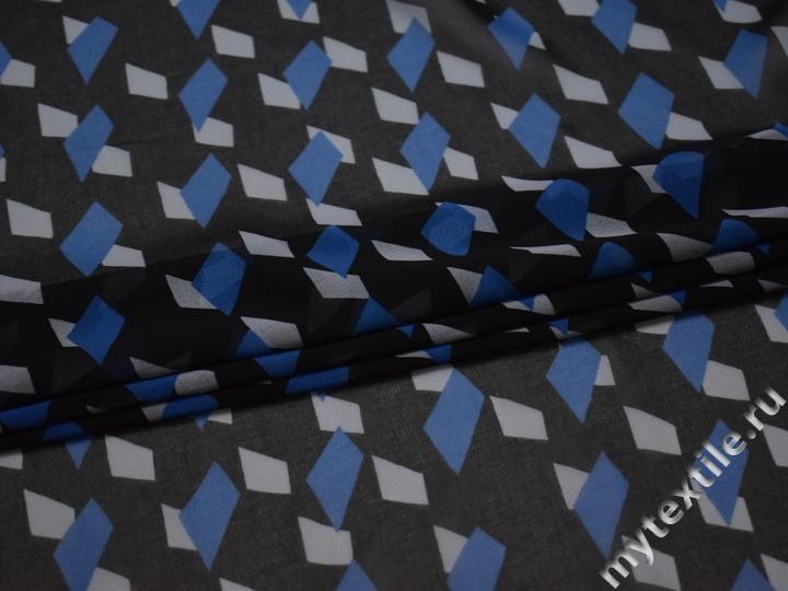 Шифон черный с геометрическим узором полиэстер ББ4133