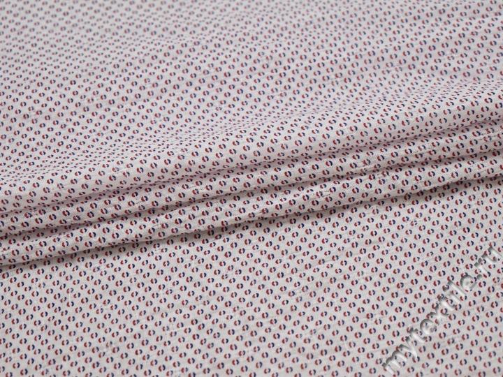 Рубашечная белая ткань геометрия хлопок полиэстер БГ184