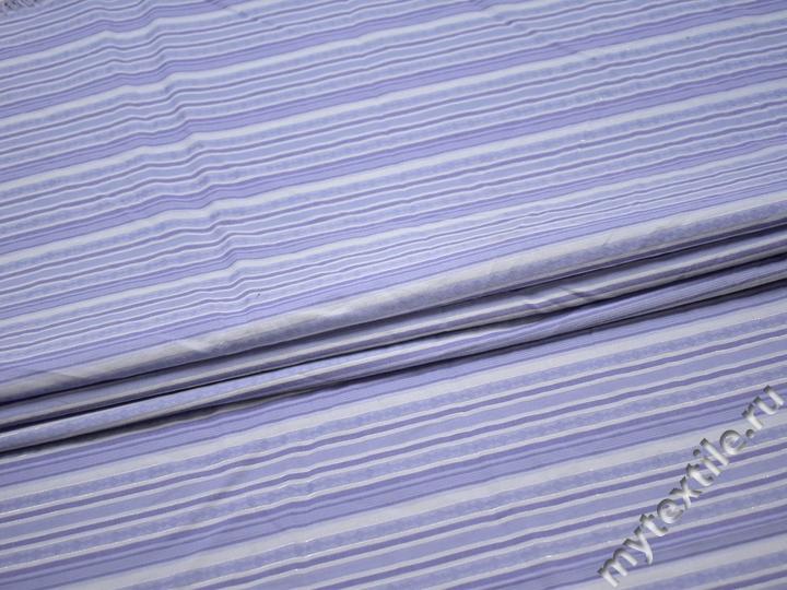 Рубашечная сиреневая ткань полоска хлопок БГ181