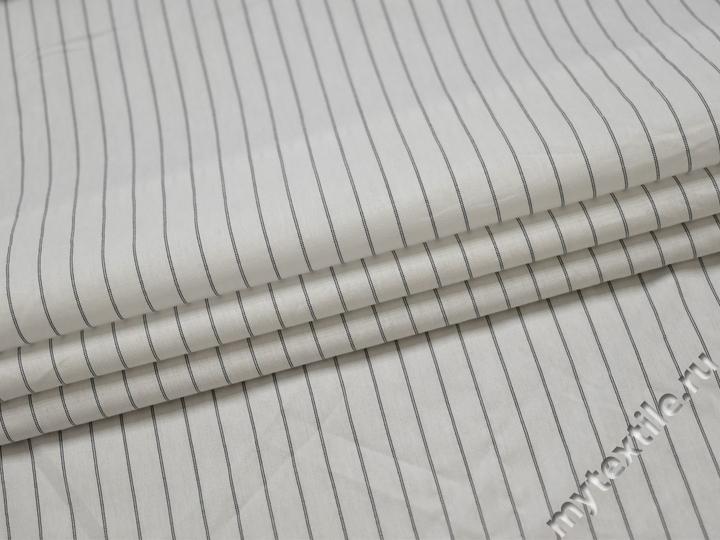 Рубашечная белая ткань полоска хлопок БГ117