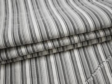 Рубашечная серо-белая ткань полоска хлопок эластан БГ171