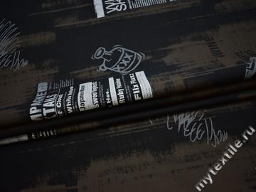 Рубашечная черная ткань надписи хлопок БГ155
