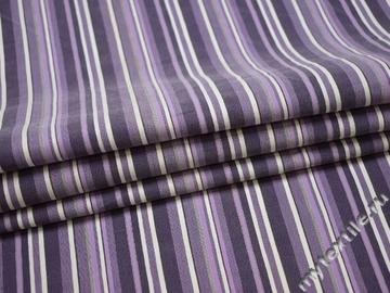 Рубашечная сиреневая ткань полоска хлопок эластан БГ151