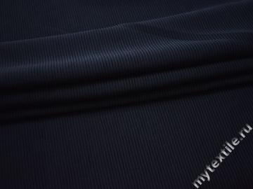 Трикотаж фактурный синий полоска полиэстер АВ55