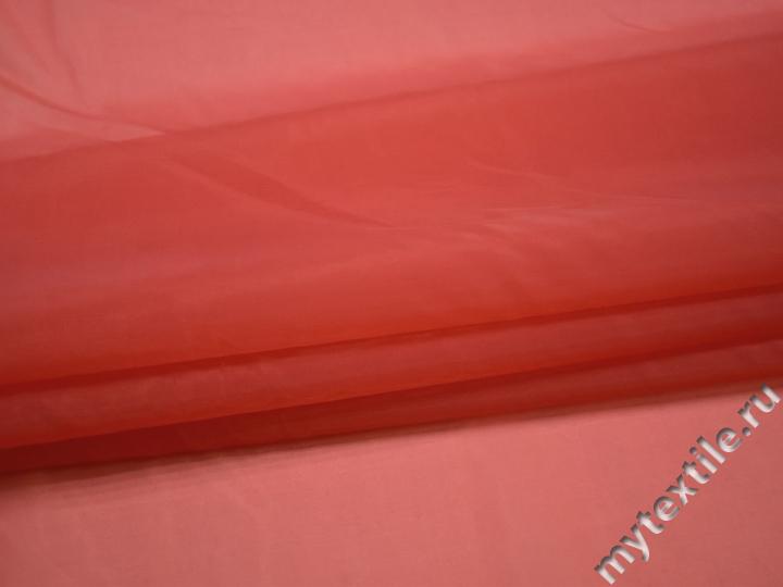 Органза красного цвета полиэстер ГВ590