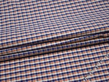Рубашечная ткань оранжевая синяя клетка хлопок БГ129