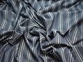Рубашечная ткань синяя белая полоска хлопок БГ131