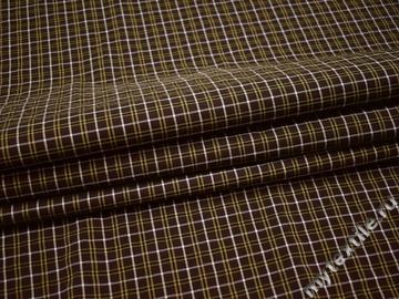Рубашечная ткань коричневая клетка полоска хлопок БГ113