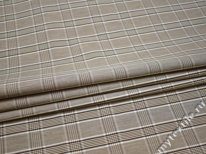 Рубашечная ткань серая коричневая полоска хлопок БГ111