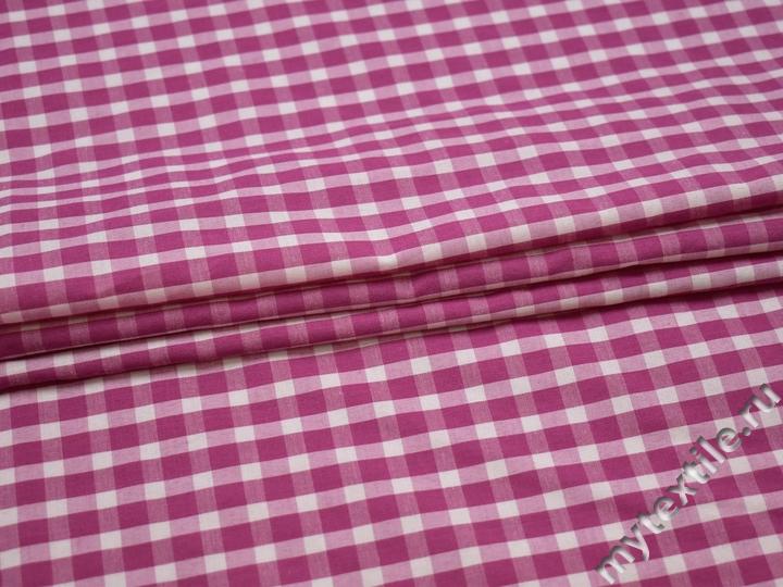 Рубашечная ткань розовая белая клетка хлопок БГ18