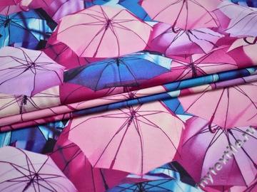 Штапель розовый голубой принт зонт вискоза БД185