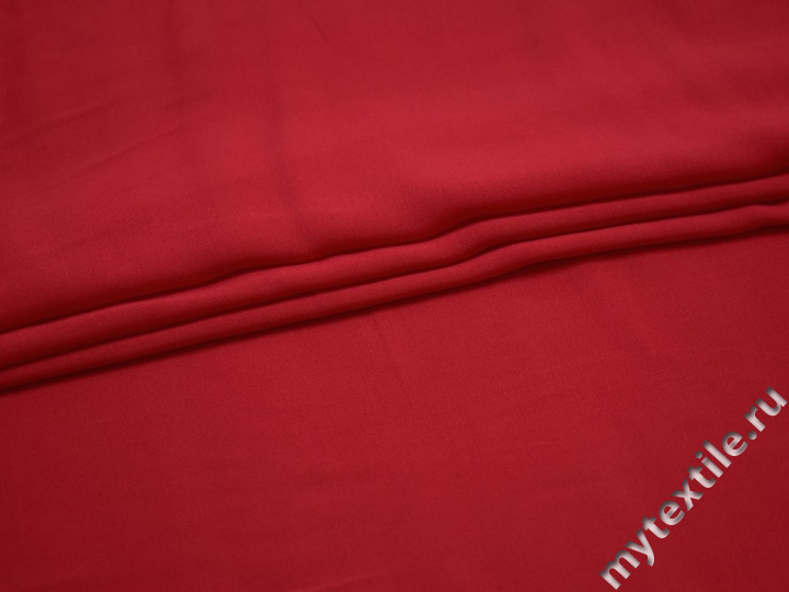 Штапель красного цвета вискоза БГ438