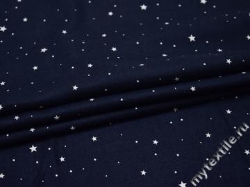 Вискоза синяя с принтом звезды ББ283