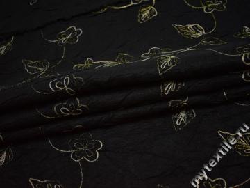 Тафта черного цвета вышивка цветы полиэстер БВ666