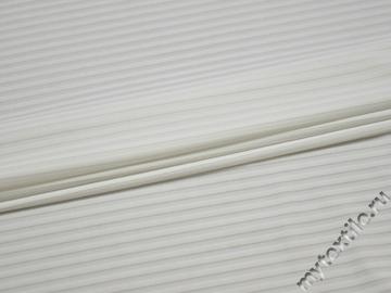 Трикотаж белый фактурная полоска полиэстер АЕ715