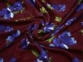 Вискоза бордовая с цветочным узором ББ224