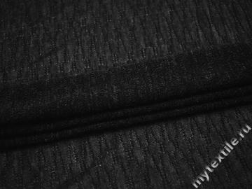 Трикотаж черный шерсть полиэстер АЕ634