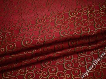 Жаккард красный с геометрическим узором полиэстер ГГ381