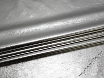 Кожзаменитель серебряный хлопок полиэстер ГЕ189