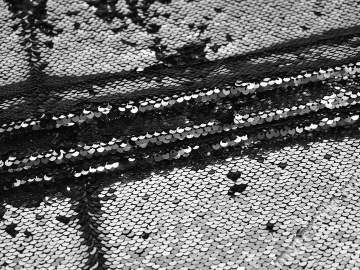 Сетка с серебряными и черными пайетками полиэстер ГБ62