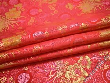 Китайский шёлк красный круги цветы полиэстер ЕБ23