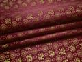Китайский шёлк бордовый узор драконы полиэстер ЕБ22