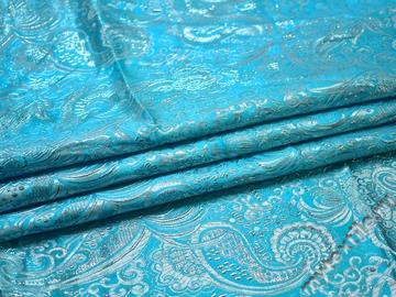 Парча голубая пейсли узор полиэстер ГВ390