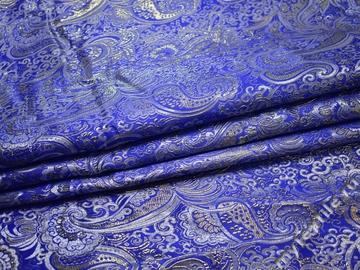Парча синяя пейсли узор полиэстер ГВ389