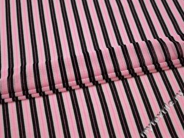 Сетка-стрейч розовая черная полоска полиэстер АВ225