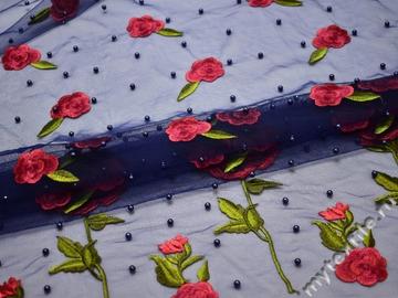 Сетка синяя с вышивкой и бусинами полиэстер БГ641
