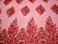 Сетка красная с вышивкой полиэстер БГ625