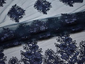 Сетка синяя с вышивкой полиэстер БГ63