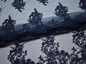 Сетка синяя с вышивкой полиэстер БГ64