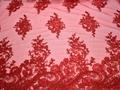 Сетка красная с вышивкой полиэстер БГ67