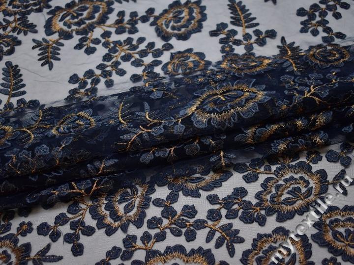 Сетка синяя с вышивкой полиэстер БГ69