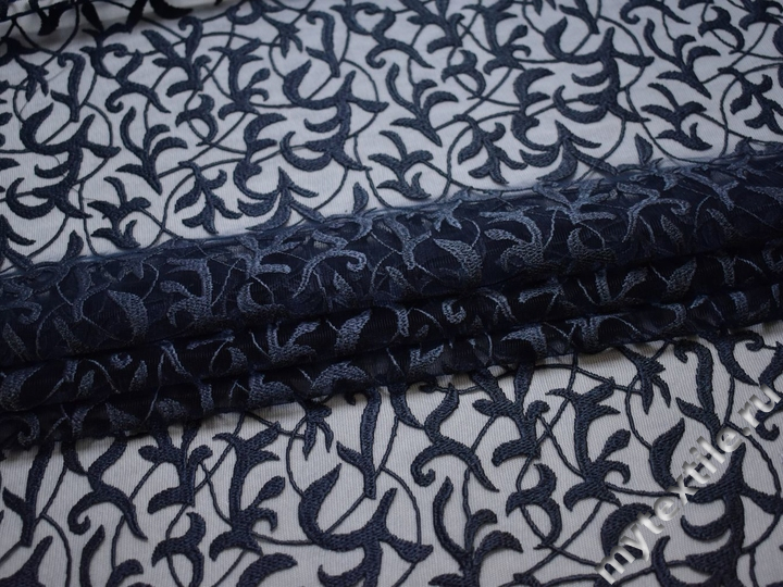 Сетка синяя с вышивкой полиэстер БГ613