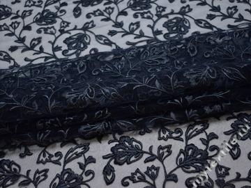 Сетка синяя с вышивкой полиэстер БГ616