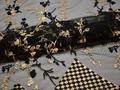 Сетка черная с вышивкой полиэстер БГ619