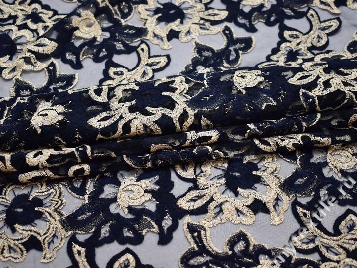 Сетка синяя с вышивкой полиэстер БГ617