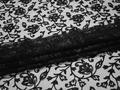 Сетка черная с вышивкой полиэстер БГ618