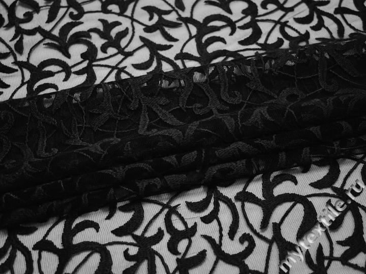 Сетка черная с вышивкой полиэстер БГ624