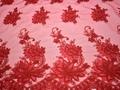 Сетка красная с вышивкой полиэстер БГ626