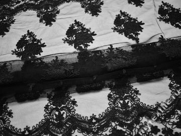 Сетка черная с вышивкой полиэстер БГ627