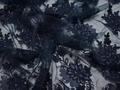 Сетка синяя с вышивкой полиэстер БГ648