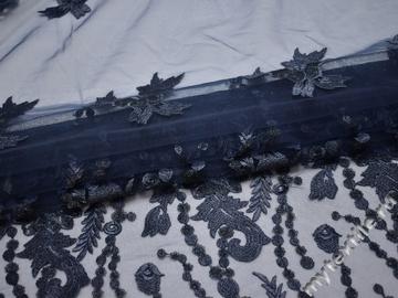 Сетка синяя с вышивкой полиэстер БГ651